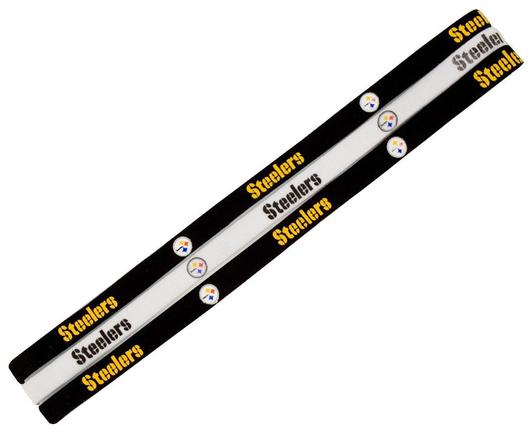 PITTSBURGH STEELERS Pack of 3 ELASTIC HAIR HEADBANDS TEAM LOGO NFL FOOTBALL