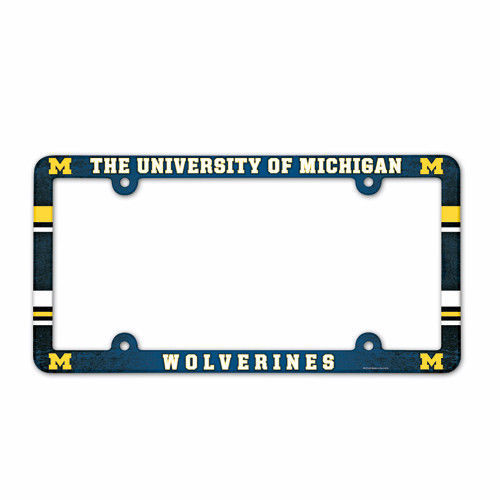 MICHIGAN WOLVERINES COLOR CAR AUTO PLASTIC LICENSE PLATE TAG FRAME