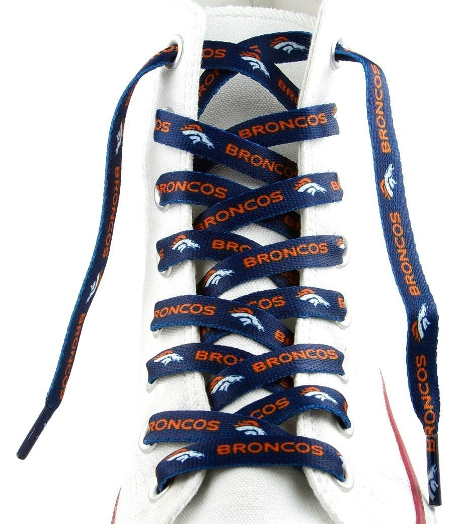 "DENVER BRONCOS TEAM SHOE LACES 54"" *LACEUPS* GAME DAY PARTY NFL FOOTBALL"