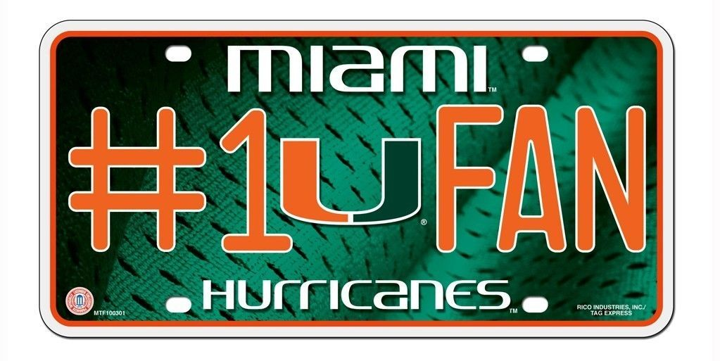 MIAMI HURRICANES #1 FAN CAR AUTO METAL LICENSE PLATE TAG