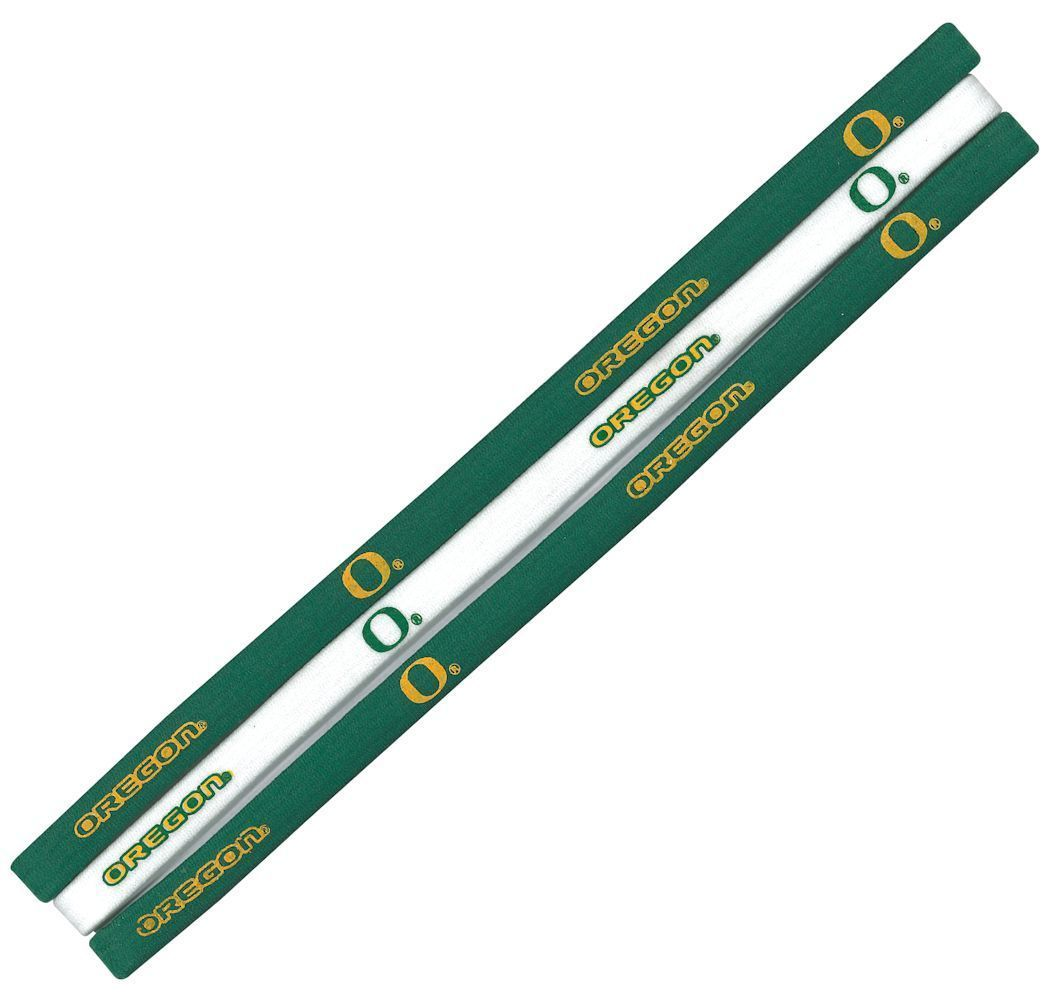 OREGON DUCKS Pack of 3 ELASTIC HAIR HEADBANDS TEAM LOGO NCAA