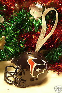 CHRISTMAS BELL FOOTBALL HELMET ORNAMENT HOUSTON TEXANS