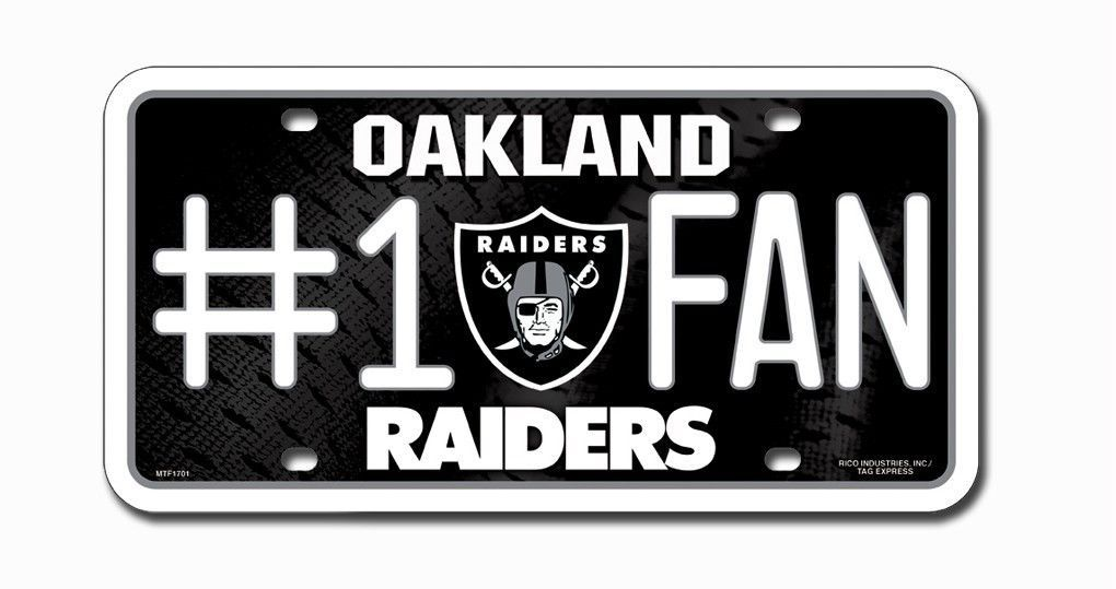 OAKLAND RAIDERS #1 FAN CAR METAL LICENSE PLATE TAG NFL FOOTBALL 3D EMBOSSED