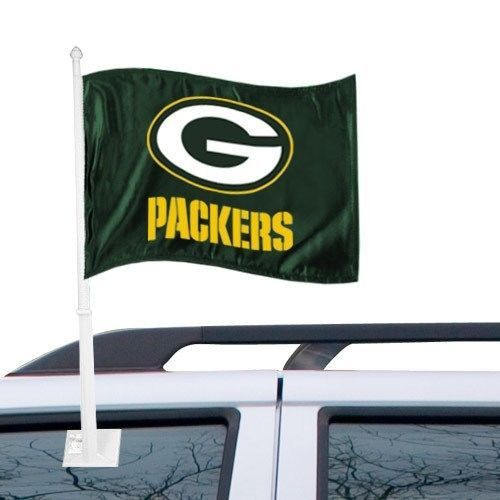 GREEN BAY PACKERS CAR AUTO FLAG BANNER & POLE 2 SIDED NFL FOOTBALL