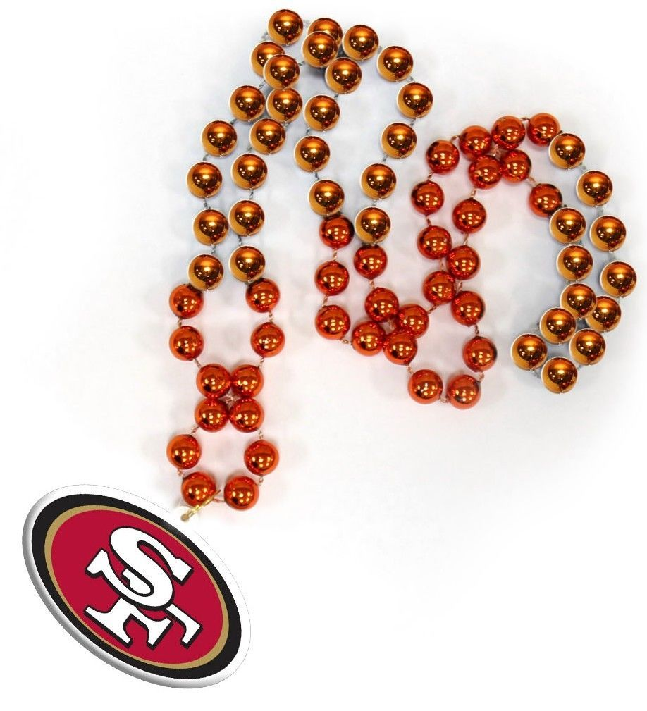 SAN FRANCISCO 49ERS MARDI GRAS BEADS with MEDALLION NECKLACE NFL FOOTBALL