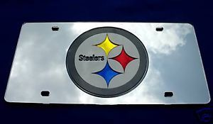(MIRROR LASER) CAR LICENSE PLATE PITTSBURGH STEELERS
