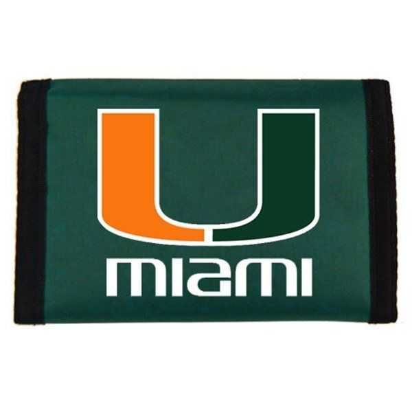 MIAMI HURRICANES TEAM LOGO NYLON TRIFOLD WALLET