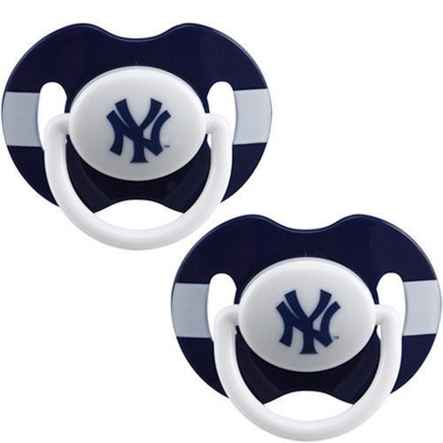 NEW YORK YANKEES 2-PACK BABY INFANT PACIFIERS SET MLB BASEBALL
