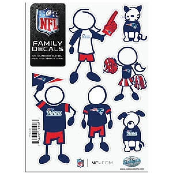 "NEW ENGLAND PATRIOTS 5""X7"" FAMILY DECAL SHEET of 6 DURABLE VINYL STICKERS"