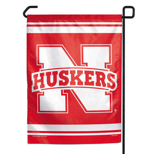 "NEBRASKA HUSKERS TEAM GARDEN YARD WALL FLAG BANNER 11"" X 15"""