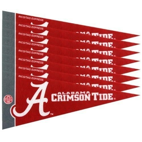 ALABAMA CRIMSON TIDE 8 PIECE MINI PENNANTS SET PACK of FELT TEAM LOGO & COLORS