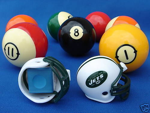 2 NEW YORK JETS POOL BILLIARD CUE with MASTER CHALK NFL FOOTBALL HELMETS