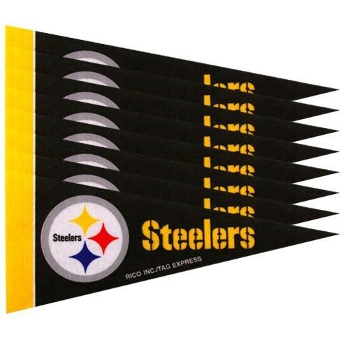 PITTSBURGH STEELERS 8 PIECE FELT MINI PENNANTS SET PACK NFL FOOTBALL