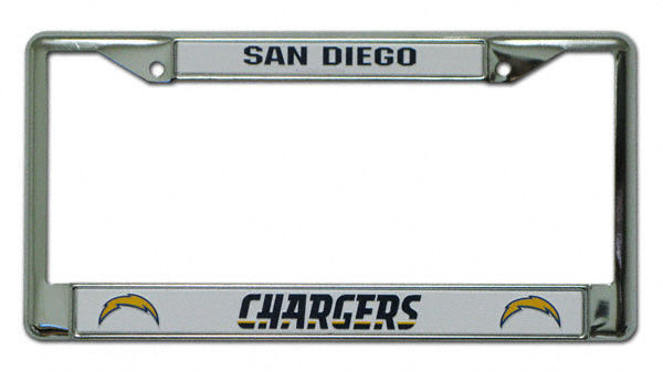 SAN DIEGO CHARGERS CAR AUTO CHROME METAL LICENSE PLATE FRAME NFL FOOTBALL