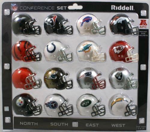 AFC CONFERENCE 16 POCKET PRO REVOLUTION NFL FOOTBALL HELMET  SET made by RIDDELL