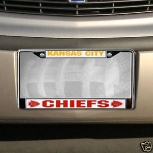 KANSAS CITY CHIEFS CAR AUTO CHROME METAL LICENSE PLATE TAG FRAME NFL FOOTBALL