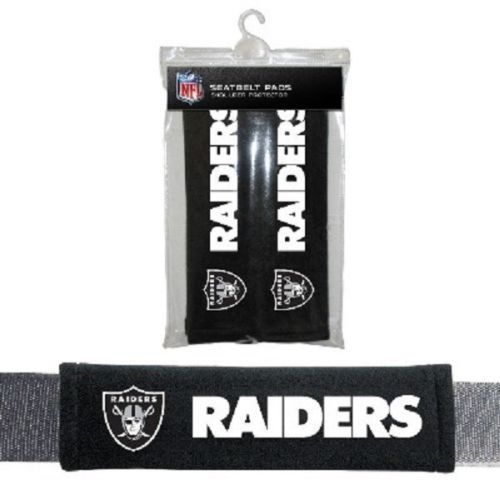 OAKLAND RAIDERS 2 VELOUR SEAT BELT LAPTOP BAG SHOULDER PADS NFL FOOTBALL
