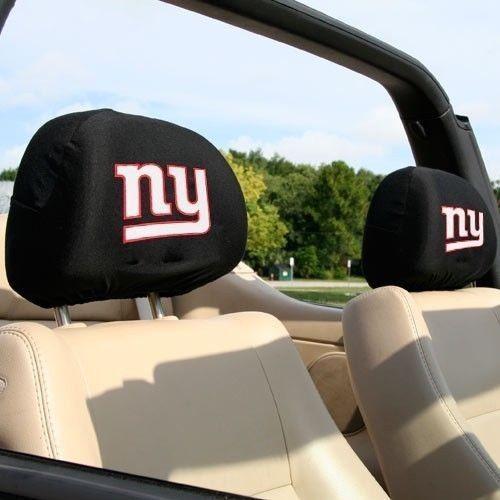 NEW YORK GIANTS CAR AUTO 2 TEAM HEAD REST COVERS NFL FOOTBALL
