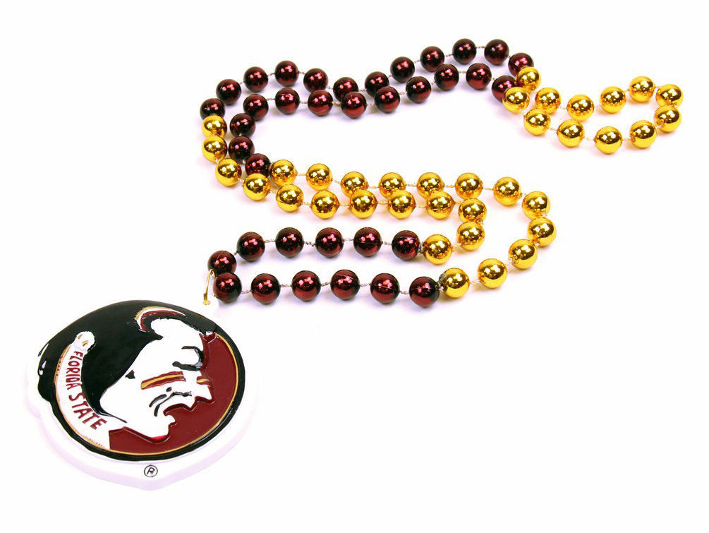 FLORIDA STATE  SEMINOLES MARDI GRAS BEADS with MEDALLION NECKLACE