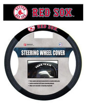 BOSTON RED SOX MESH SUEDE CAR AUTO STEERING WHEEL COVER MLB BASEBALL - $19.16