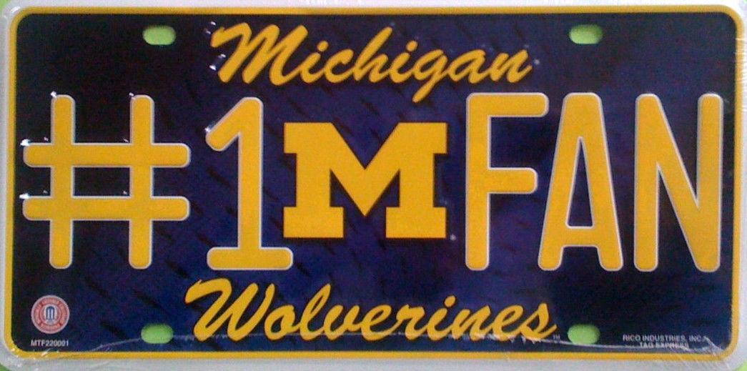 MICHIGAN WOLVERINES #1 FAN CAR AUTO METAL LICENSE PLATE TAG