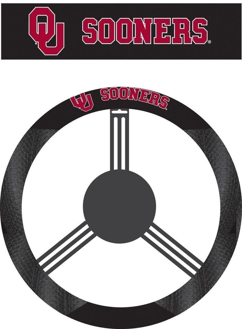 OKLAHOMA SOONERS MESH SUEDE CAR AUTO STEERING WHEEL COVER NCAA