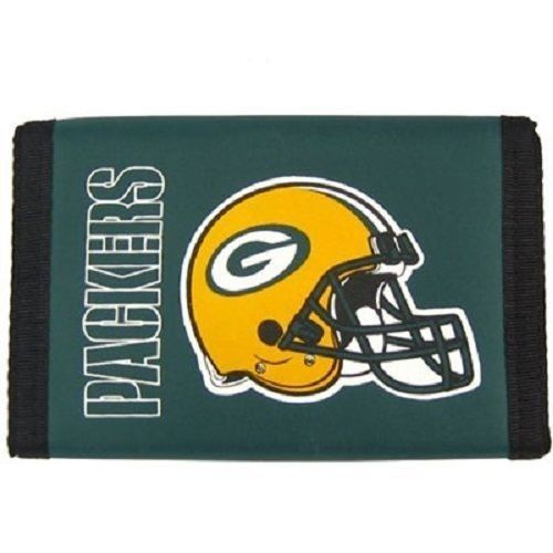 GREEN BAY PACKERS TEAM LOGO NYLON TRIFOLD WALLET NFL FOOTBALL