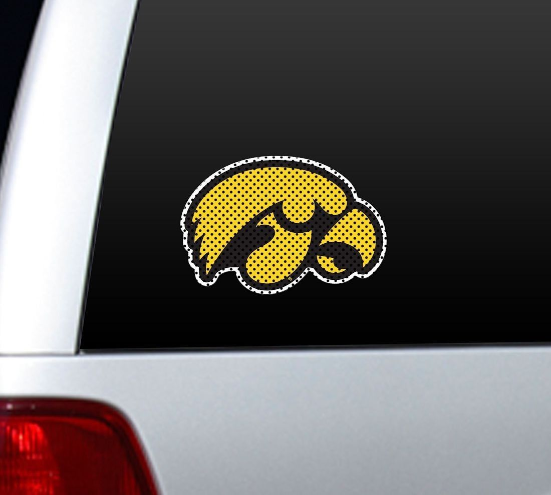"*BIG* 12"" IOWA HAWKEYES CAR HOME PERFORATED WINDOW FILM DECAL"