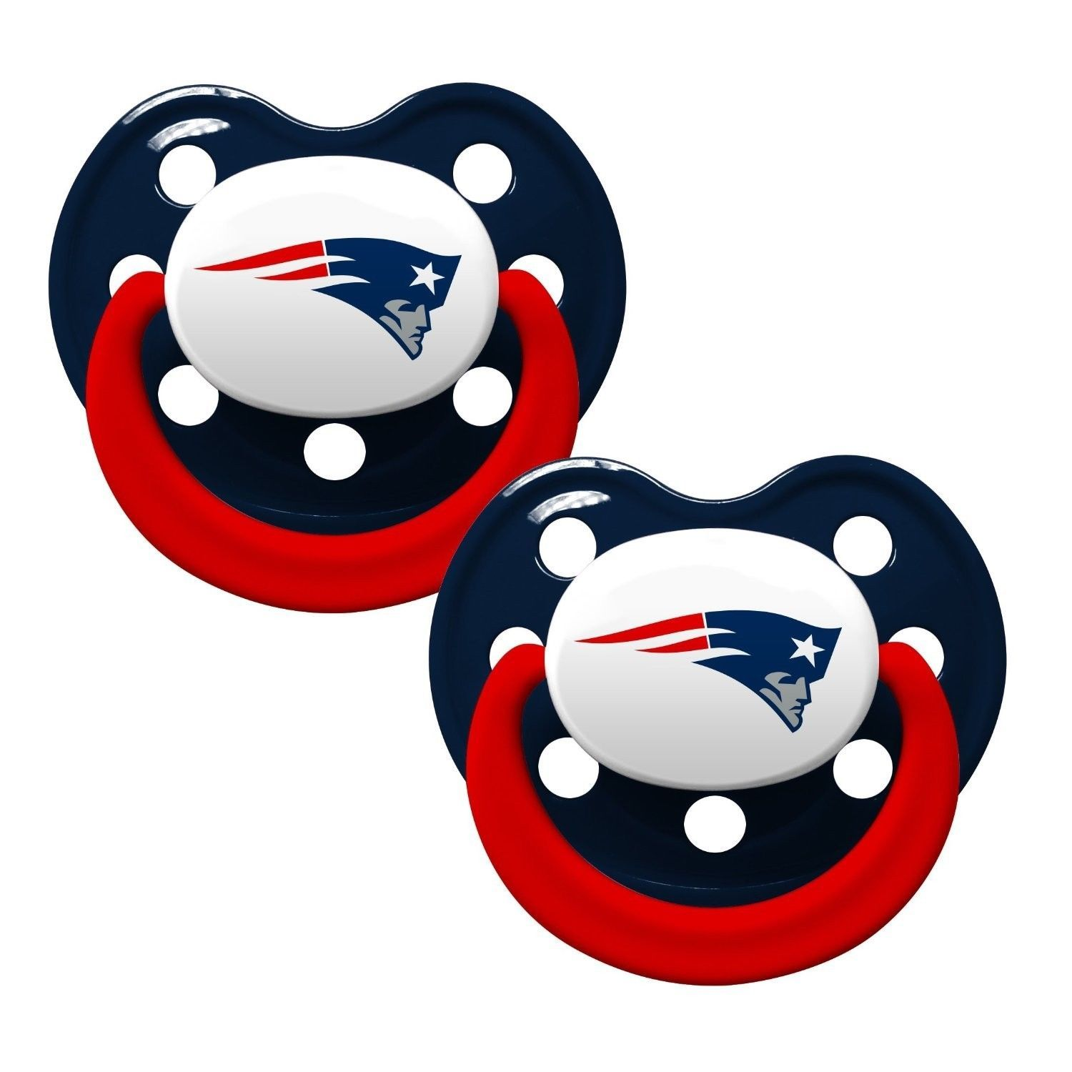 NEW ENGLAND PATRIOTS 2-PACK BABY INFANT PACIFIERS NFL FOOTBALL