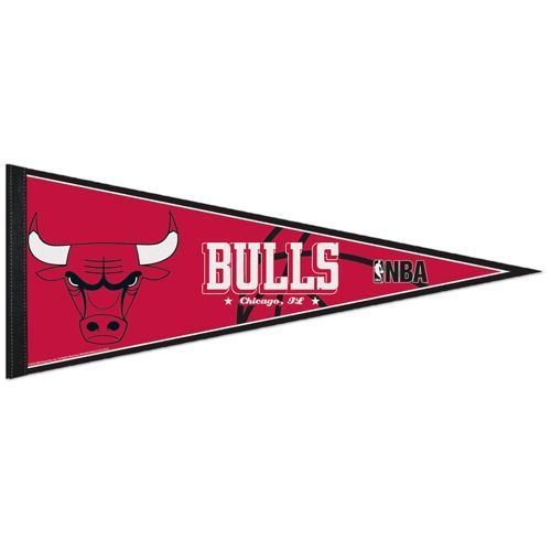 "2 CHICAGO BULLS TEAM FELT PENNANT 12""X 30"" NBA BASKETBALL - Ships FLAT!"