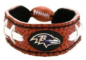 CLASSIC FOOTBALL LEATHER BRACELET BALTIMORE RAVENS