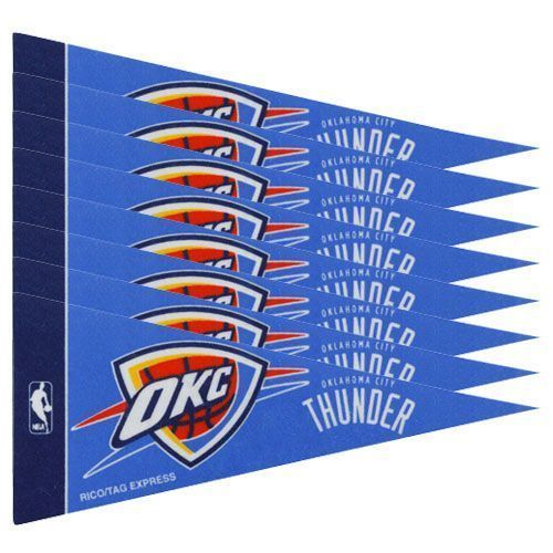 OKLAHOMA CITY THUNDER 8 PIECE FELT MINI PENNANTS SET PACK NBA BASKETBALL