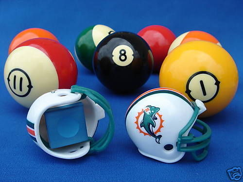 2 MIAMI DOLPHINS POOL BILLIARD CUE with MASTER CHALK NFL FOOTBALL HELMETS
