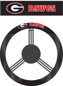 GEORGIA BULLDOGS MESH SUEDE CAR STEERING WHEEL COVER