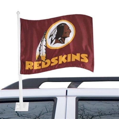 WASHINGTON REDSKINS CAR AUTO FLAG BANNER & POLE 2 SIDED NFL FOOTBALL