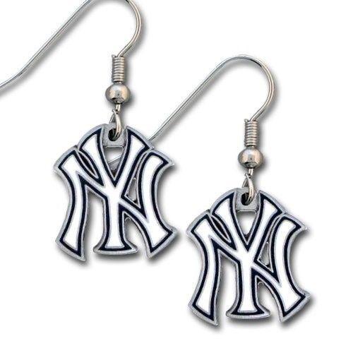 NEW YORK YANKEES PAIR DANGLE EARRINGS TEAM LOGO PARTY TAILGATE MLB BASEBALL