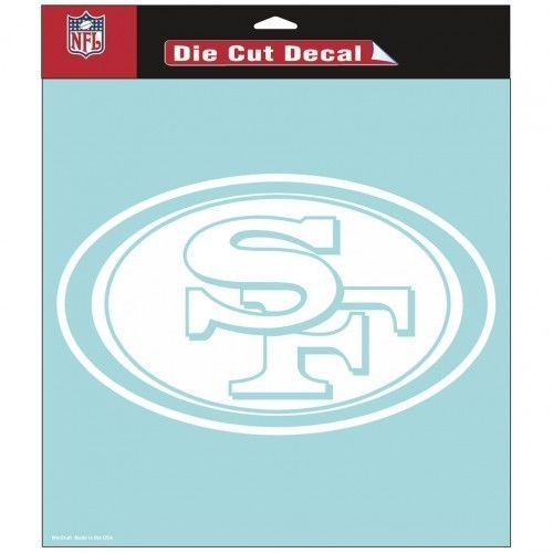 "SAN FRANCISCO 49ERS 8"" X 8"" CLEAR FILM DECAL STICKER WHITE LOGO NFL FOOTBALL"