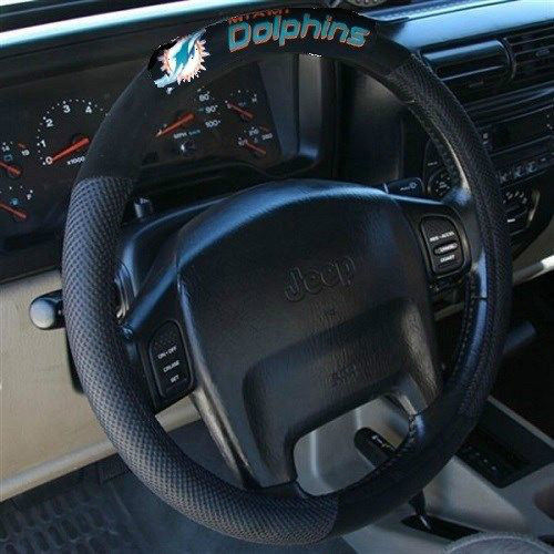 MIAMI DOLPHINS NFL SUEDE MESH CAR STEERING WHEEL COVER NFL FOOTBALL