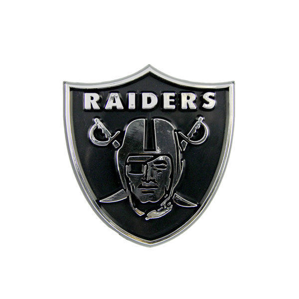 OAKLAND RAIDERS CAR AUTO 3-D CHROME SILVER TEAM LOGO EMBLEM NFL FOOTBALL