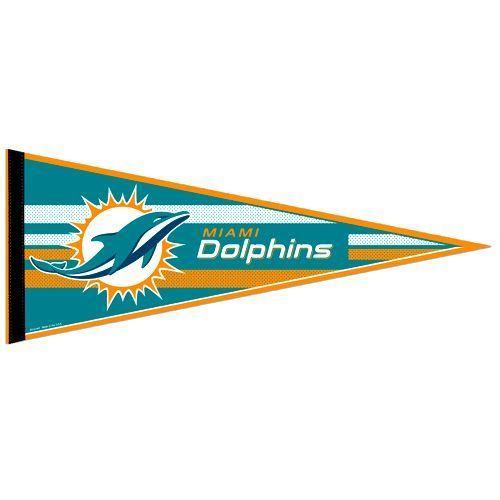 "BIG MIAMI DOLPHINS TEAM FELT PENNANT 12""X 30"" NFL FOOTBALL SHIPS FLAT!"