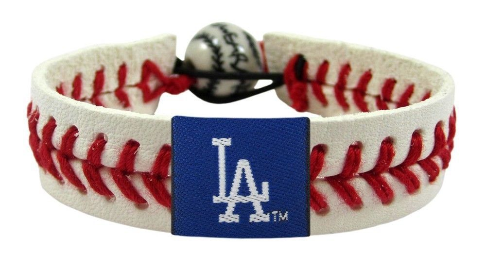 LOS ANGELES DODGERS CLASSIC LEATHER SEAM LACES BRACELET MLB BASEBALL