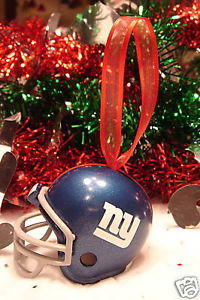 CHRISTMAS BELL FOOTBALL HELMET ORNAMENT NEW YORK GIANTS