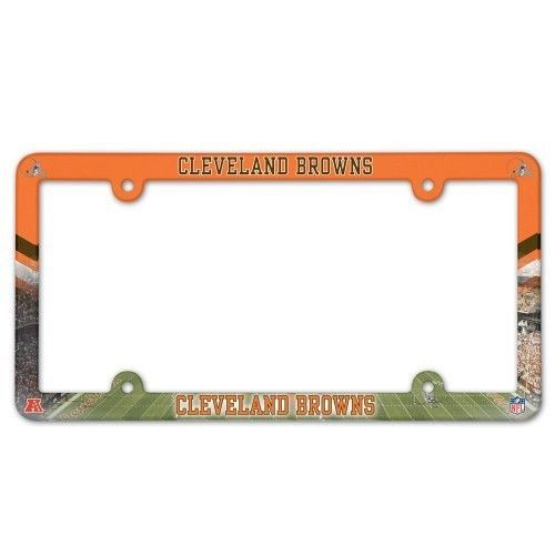 CLEVELAND BROWNS COLOR CAR AUTO PLASTIC LICENSE PLATE TAG FRAME NFL FOOTBALL