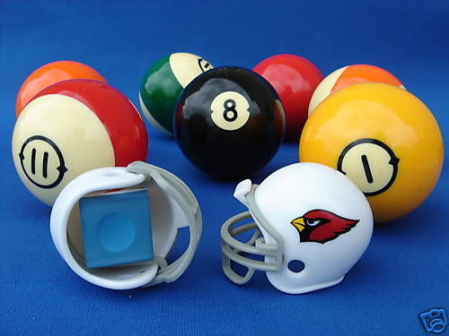 2 ARIZONA CARDINALS POOL BILLIARD CUE with MASTER CHALK NFL FOOTBALL HELMETS