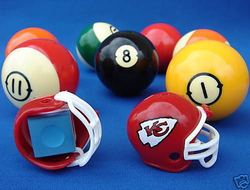 2 KANSAS CITY CHIEFS POOL BILLIARD CUE with MASTER CHALK NFL FOOTBALL HELMETS