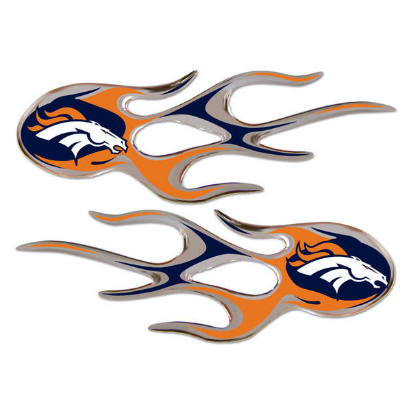 DENVER BRONCOS MICRO FLAMES CAR AUTO 3-D CHROME EMBLEM 2 PACK NFL FOOTBALL