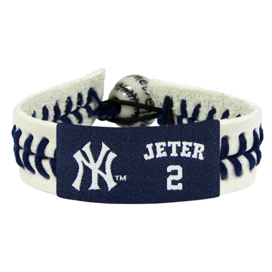 DEREK JETER NEW YORK YANKEES CLASSIC LEATHER  LACES SEAM BRACELET MLB BASEBALL