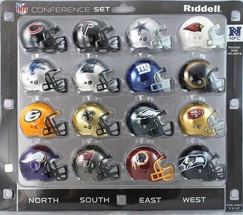 NFC CONFERENCE 16 POCKET PRO REVOLUTION NFL FOOTBALL HELMET SET made by RIDDELL
