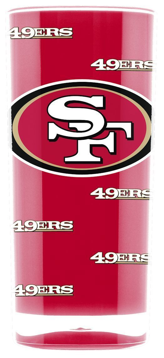 SAN FRANCISCO 49ERS CRYSTAL CLEAR SQUARE INSULATED TUMBLER 16 OZ.  NFL FOOTBALL