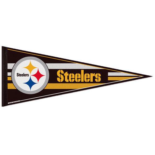 "BIG PITTSBURGH STEELERS TEAM FELT PENNANT 12""X30"" NFL FOOTBALL SHIPS FLAT in USA"